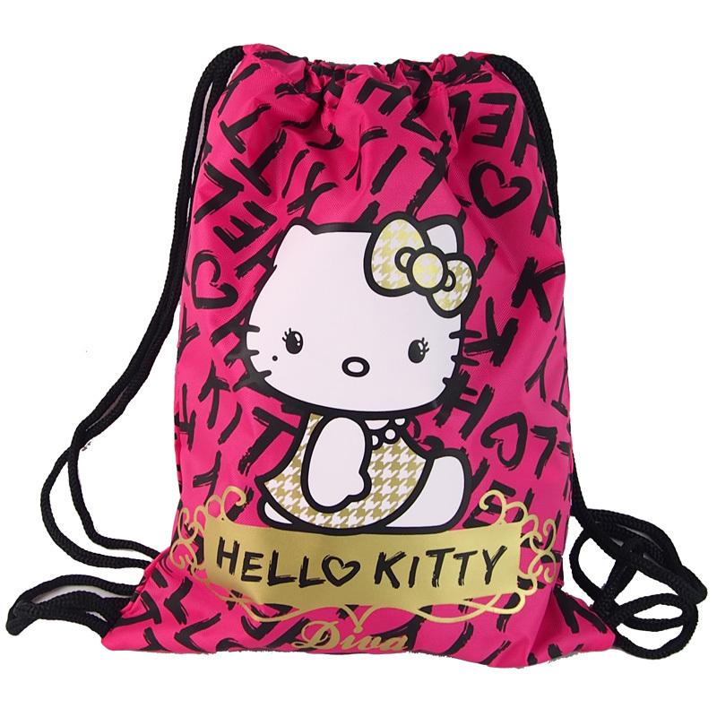 Hello Kitty Bag Drawing String Backpack Shopping Bag Snacks Useful Storage Large Capacity Ultralight School Bag Menina Fany Pack(China (Mainland))