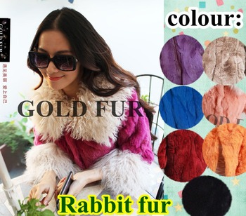 Free ship:Real natural fur outerwear coat rabbit with wool mink winter clothes womens female ladies' fur jacket dress genuine