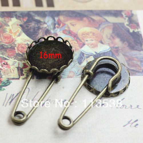 16mm 100pcs lot Antiqued Bronze back base font b Kilt b font Safety Pin Brooch clasps