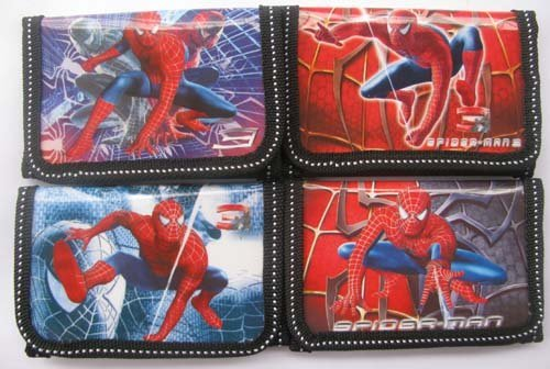 Free shipping 12pcs spider man boy's wallet purses gift bags