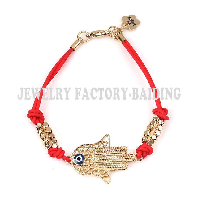 Красный черный силиконовый строка золото хамса фатима браслет лаки зло браслет глаз