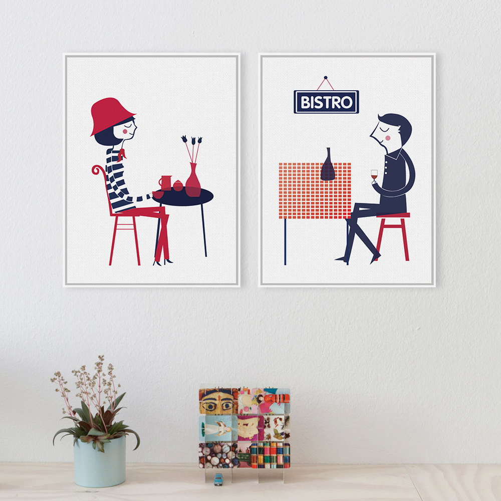 Frameless Modern Cartoon Chefs Canvas Prints Restaurant: Popular French Cafe Paintings-Buy Cheap French Cafe