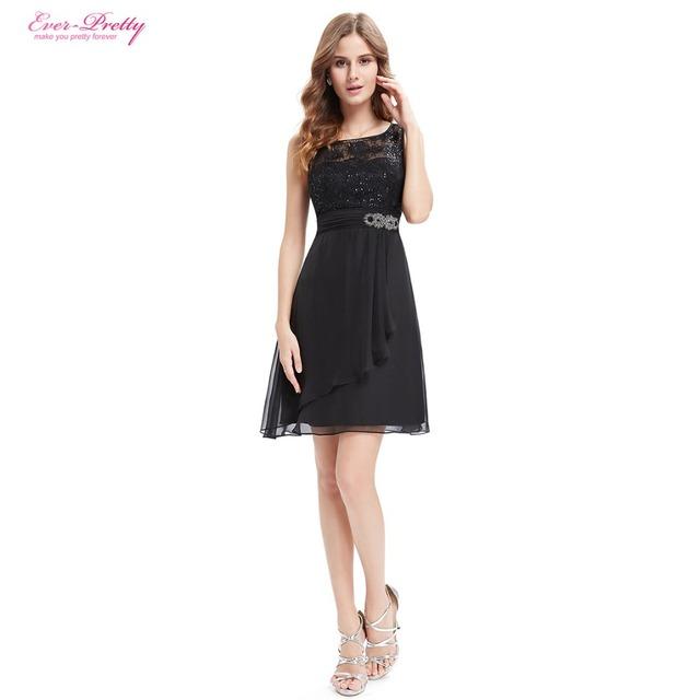 Когда-либо Довольно Коктейльные Платья AP05383BK Женщин Просто Мода Шею Рукавов Черный ...