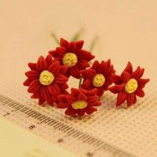 10pcs Handmade Flowers Garden Dollhouse Miniature 1/12 Scale Clay Miniature Dollhouse Flowers Magic(China (Mainland))