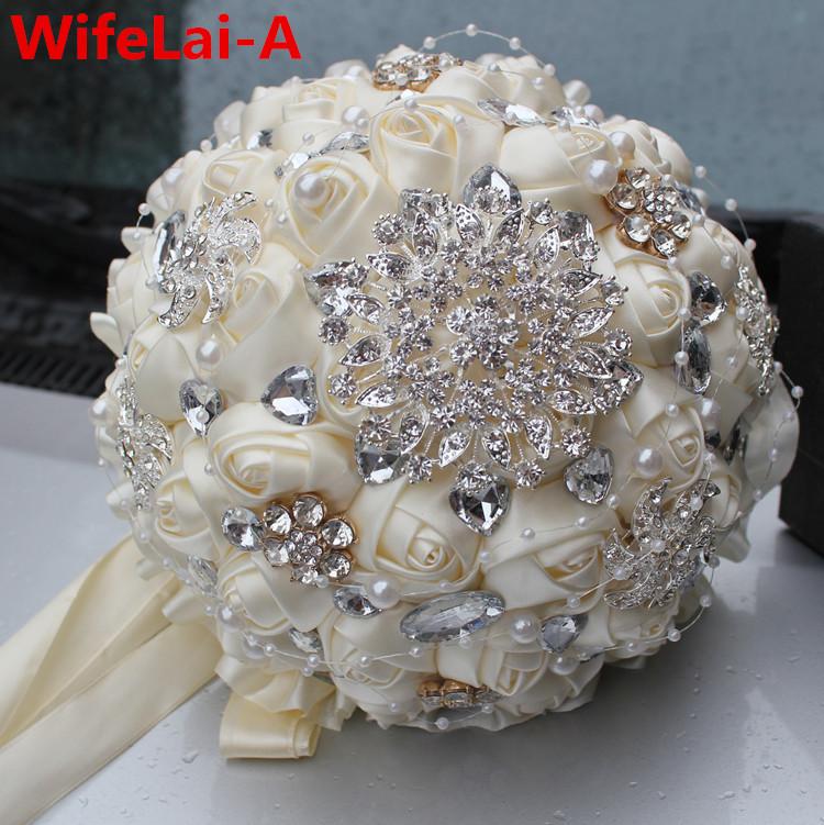 Best Selling Ivory Cream Brooch Bouquet Wedding Bouquet de mariage Polyester Wedding Bouquets Pearl Flowers buque de noiva PL001(China (Mainland))