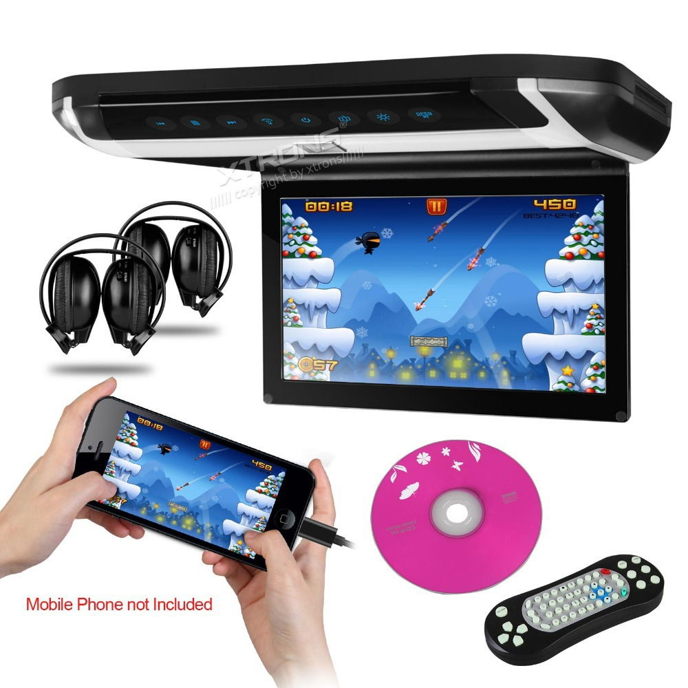 "New Arrival XTRONS Black 10"" HD Digital TFT Monitor Car Roof DVD Player with two free IR Headphones(China (Mainland))"