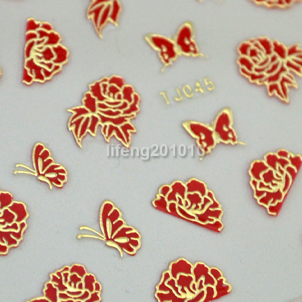 Wholesale Hot stamping Red 3D Nail Art Sticker Decals Phone Decoration Flower Butterfly Design 2pcs Retail Packed Free shipping(China (Mainland))