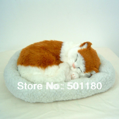 free shipping lucky charm sleeping cat with breathing artificial cat gift decoration cat breathing cat(China (Mainland))
