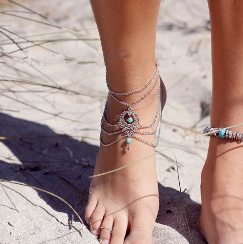 Ethnic Bohemia Style Green Turquoise Beads Anklet Foot Jewelry Multilayer Metal Dangle Boho Ankle Chain Anklets For Women A0007(China (Mainland))