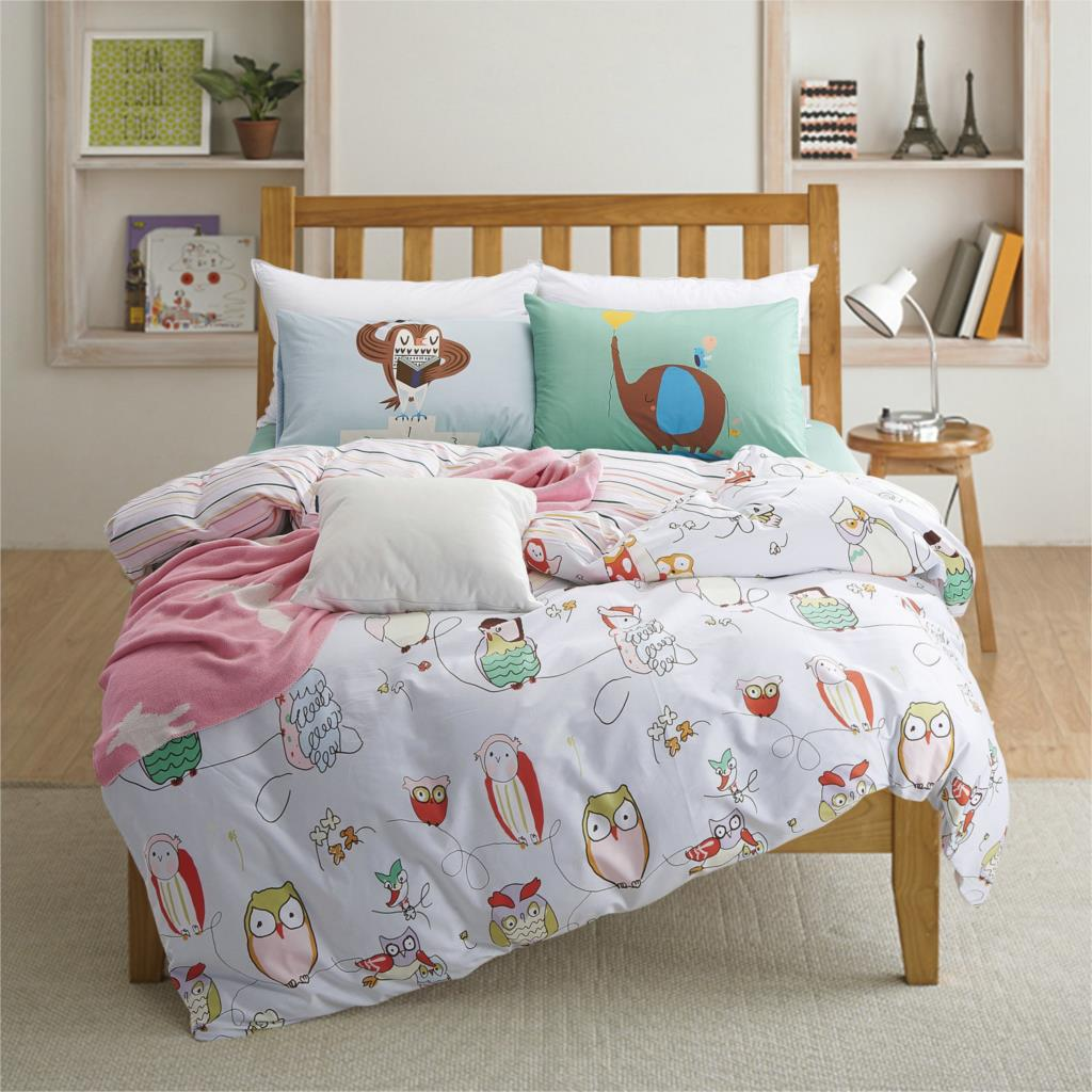 100 Cotton Owl Print Kids Bedding Set Queen Twin Size