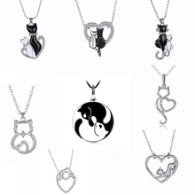 Lovely   Black White 2 cat On Heart Crystal Pendant Necklace For Women Girl Best Friend Gift Small Cat Jewelry(China (Mainland))
