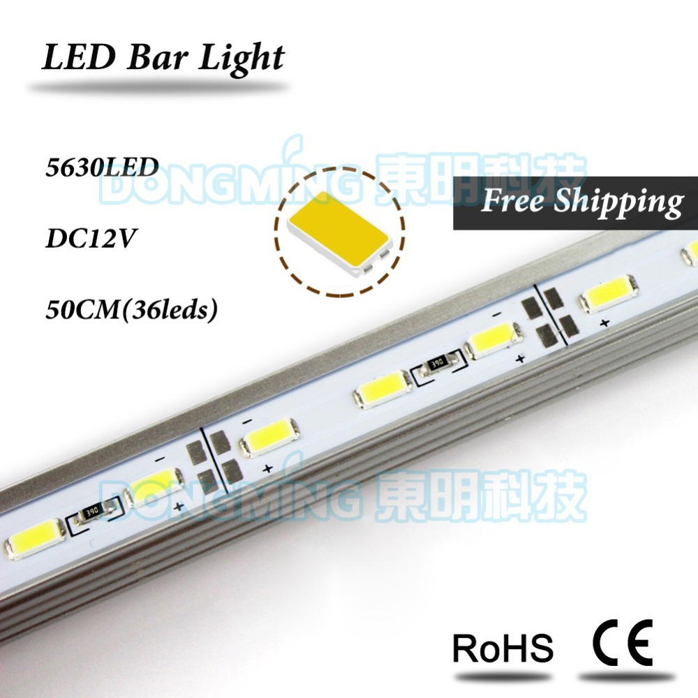 LED Bar Light 5630 DC 12V 36leds 50cm led rigid strip for kitchen closet cabinet white/warm white With U Aluminum Profile(China (Mainland))