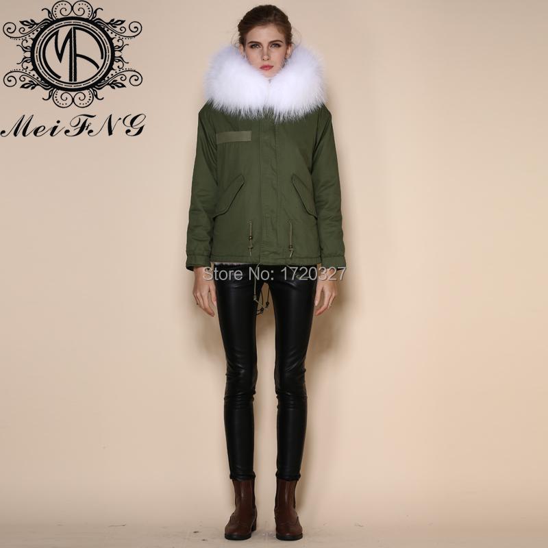 Amazing Real Fur Parka Free Shipping 1 PCs Winter Women Warm Fur Collar hooded Jacket Coat parka(China (Mainland))