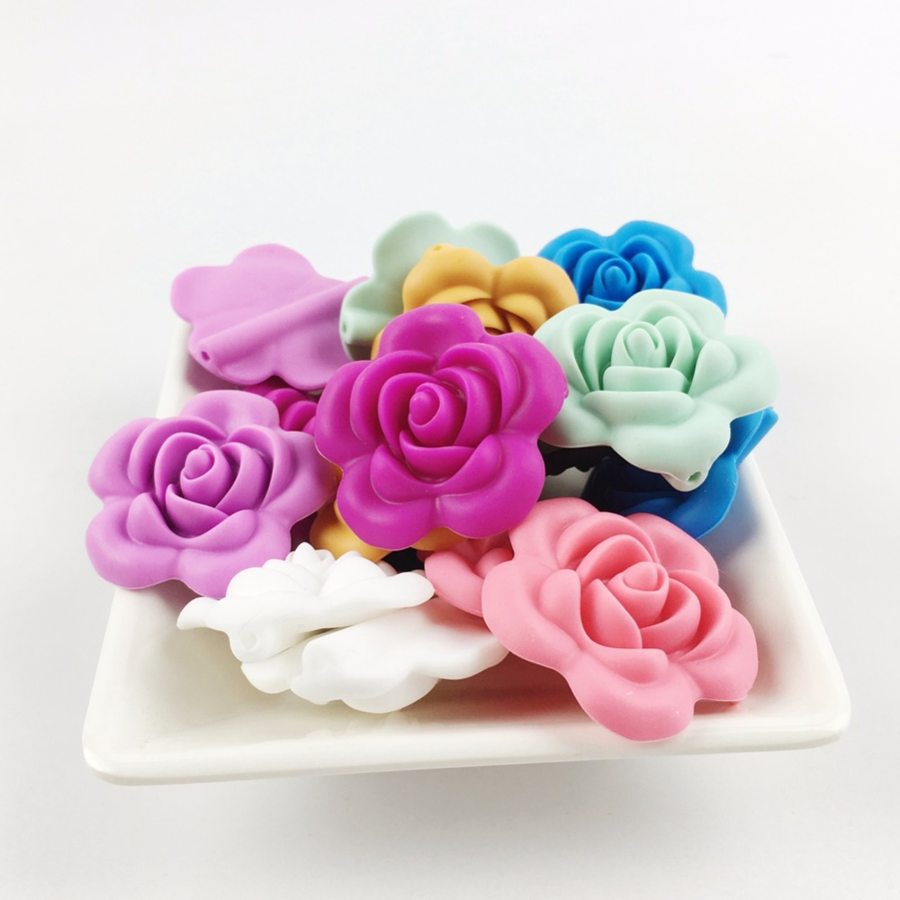 Silicone Flower Beads BPA Free Baby Teething Toys(20pc Mix)<font><b>Elegant</b></font> <font><b>Home</b></font> <font><b>Decoration</b></font> DIY Pendant Necklace White Rose Mint Blue