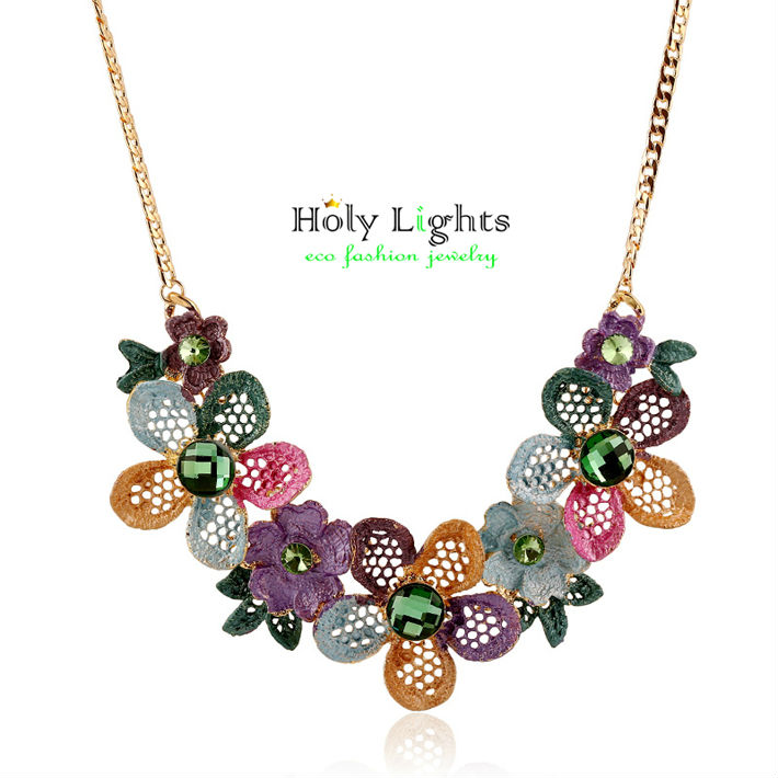 2016 new za multicolor painting flower chokers necklaces marine pink roses statement pendant necklace collar maxi bijoux feme(China (Mainland))