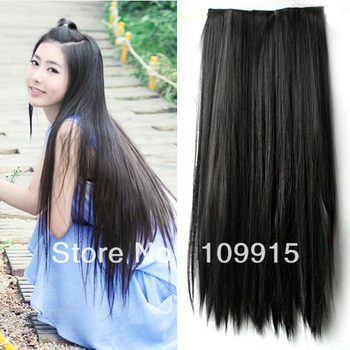 LX0023B Women Long Straight Hair One piece 5 clips in hair extensions Full head top Deep Brown
