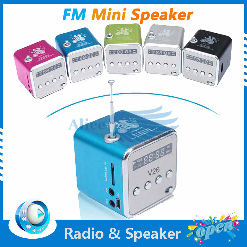 Free shipping to French Led Digital 3.5MM Audio Micro TF SD Card U Disk USB Stereo Speaker FM Radio For phone MP5 Music Player.(China (Mainland))