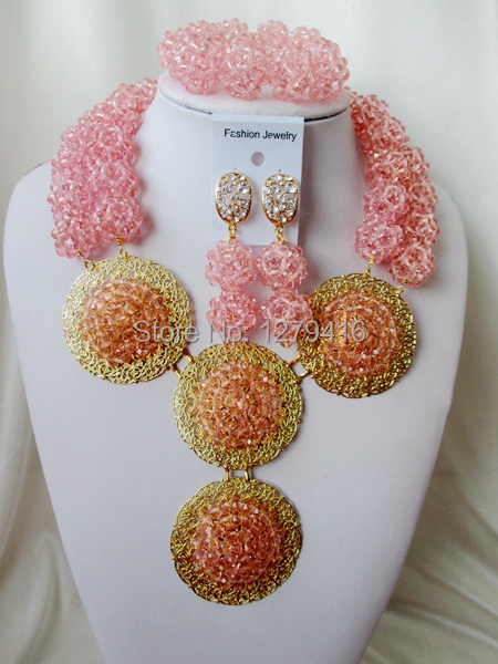 New Arrived  Trendy  2015Fashion pink  crystal costume jewellry bridal nigerian wedding african beads jewelry set asd3190<br><br>Aliexpress
