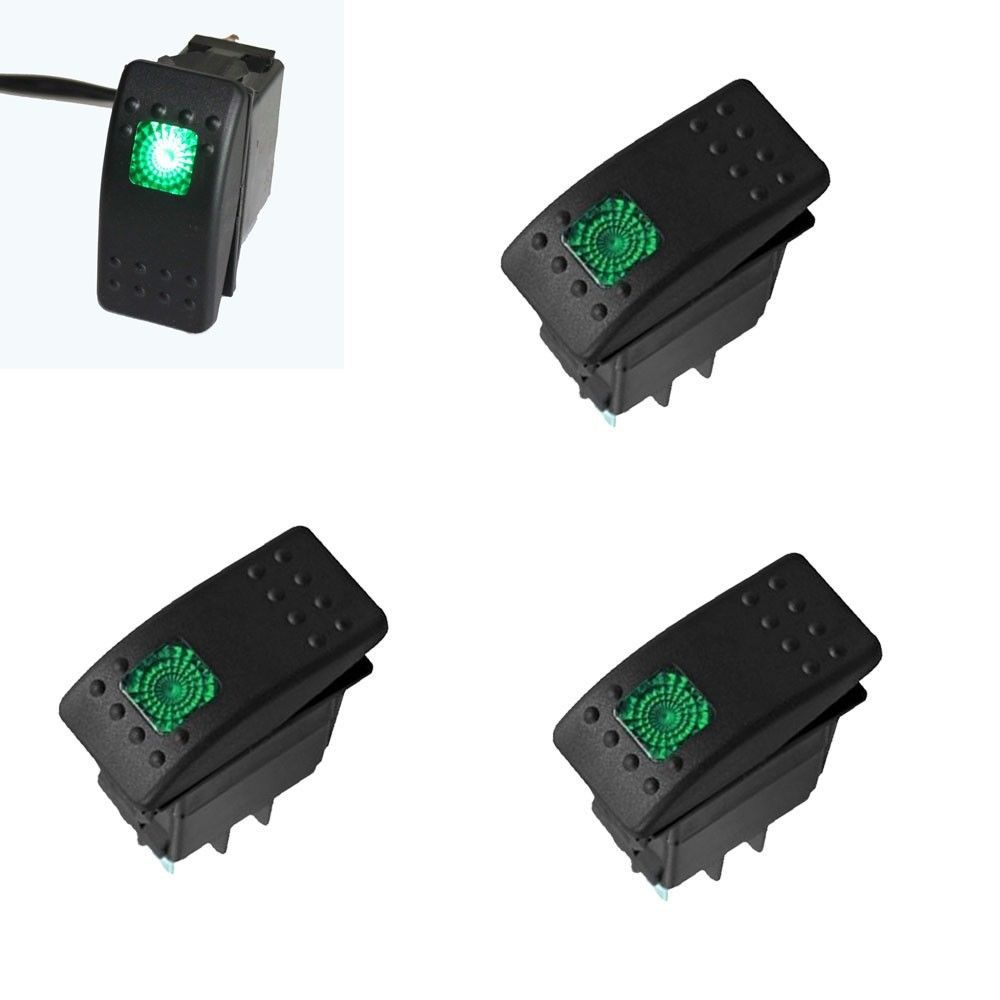 5x 12V 20A Green LED Light switch ON/OFF Rocker 4 Pin Waterproof Dash Toggle Switch Car - multiple store