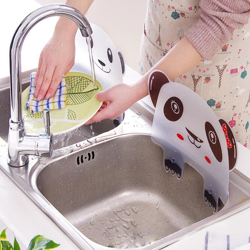 Cute panda shape sink water splash pool impermeable baffle plate gadget suction cups rack kitchen accessories plastic shelf(China (Mainland))