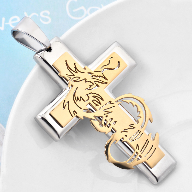 New design statement 316L stainless steel gold silver dragon cross pendant necklace for men fancy titanium steel jewelry BT1511(China (Mainland))