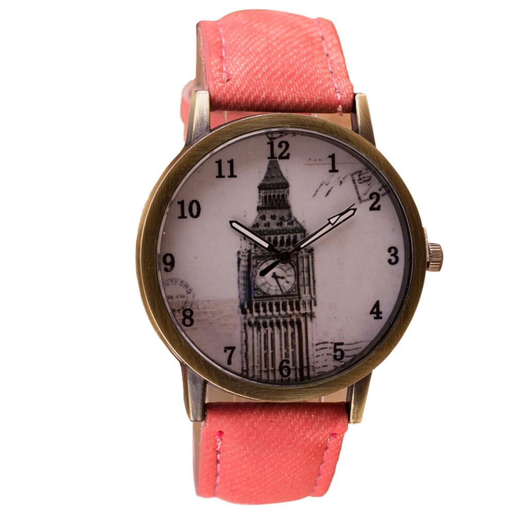 Гаджет  2015 New Hot Retro Women Mens Watch Clock Tower Pattern Vintage WristWatch Denim Leather Band Analog Quartz Watch None Часы