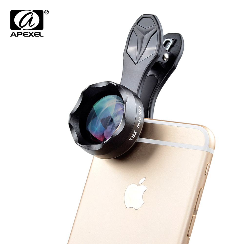 APEXEL 18x super macro Lens professional HD macro mobile phone camera lentes with unversal clip for iPhone 5s6 7 Xiaomi Samsung(China (Mainland))