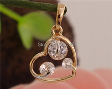 Beautiful 1pc 14K Gold Filled Clear Cubic Zirconia Nice Heart Pendant(China (Mainland))