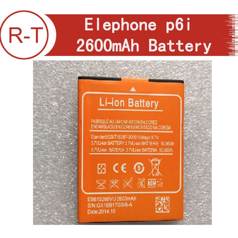 Elephone p6i Battery Original Large Capacity 2600mAh Li-ion Battery Replacement for Elephone p6i cellphone+Free Shipping