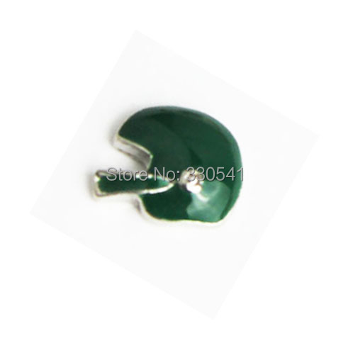 Free Shipping !good quality Green Enamel Football Helmet Floating Charms for glass locket ! AFC1509(China (Mainland))