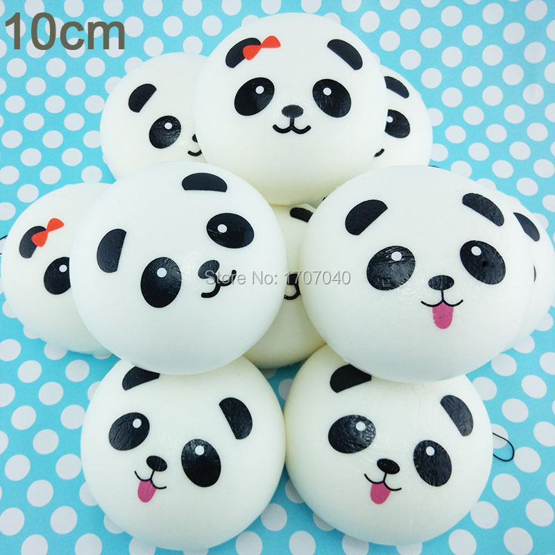 Squishy Jumbo Panda 10 Cm : 10cm Jumbo Panda Squishy Charms Kawaii Buns Bread Cell Phone Key/Bag Strap Pendant Squishes-in ...