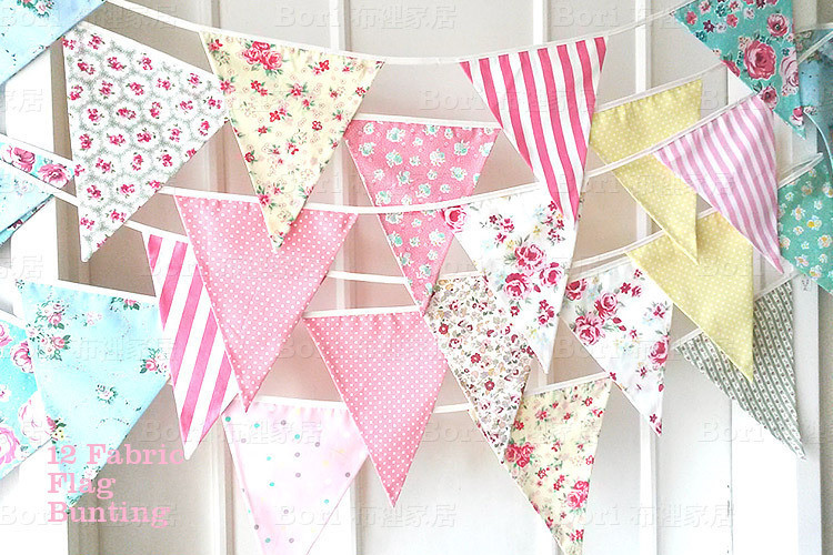 3set 36pcs colorful handmade fabric flags bunting party