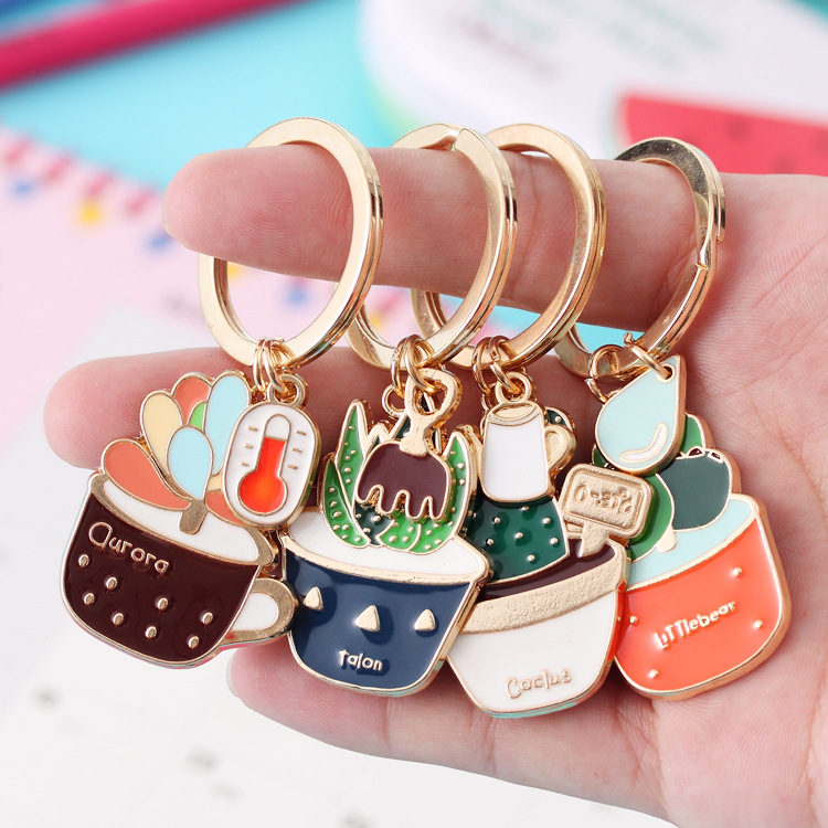New Cute Potted Plant Cactus Shape Key Ring Keychains Keyrings Chain for Women Bag Charm Pendant Jewelry(China (Mainland))