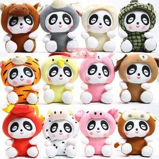 Freeshipping 12 zodiac sign panda plush toys 12pcs/set 4sets/lot(China (Mainland))