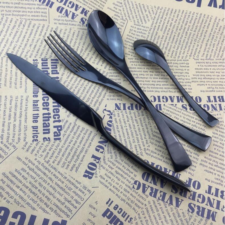 Buy black western food dinnerware  Steak knife and fork spoon   stainless steel tableware Western knife and fork gift custom models cheap