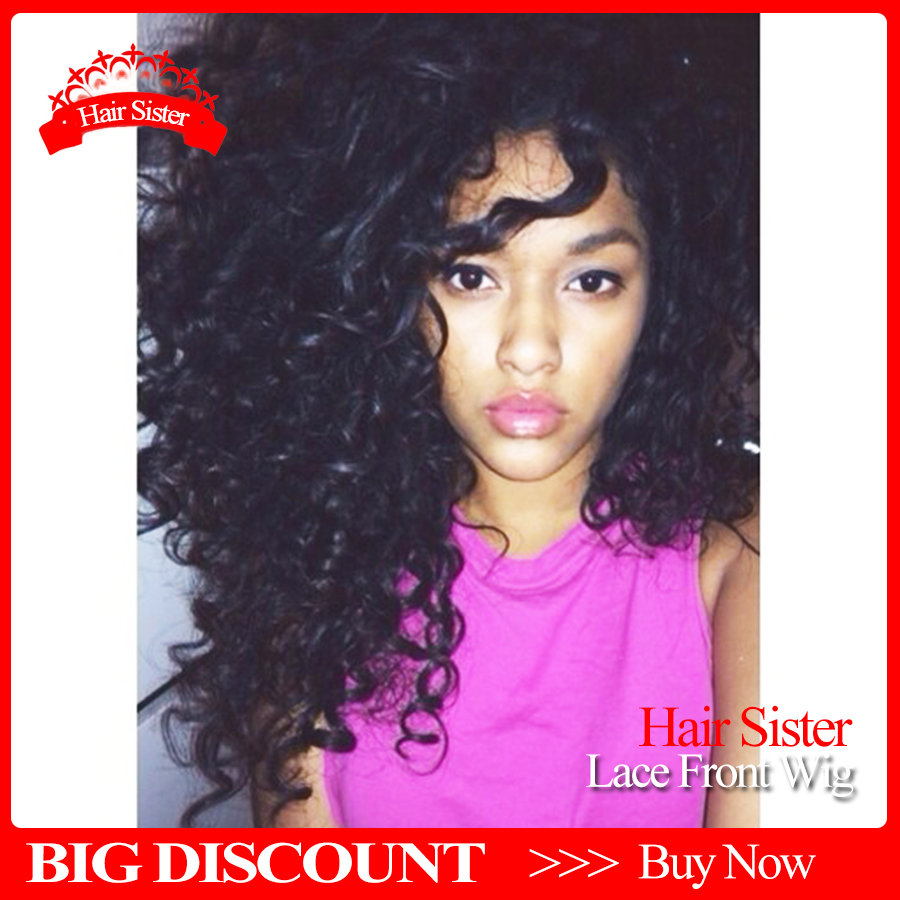 7A Grade 180 Heavy Density Malaysian Hair curly Wigs Synthetic Lace Front Wigs Black Fluffy Heat Resistant Synthetic Hair Wigs<br><br>Aliexpress