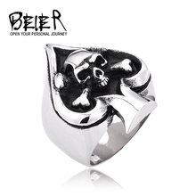 Biker Thai Silver style unisex titanium steel ring Skull spades ring index finger ring New Free Shipping FS LBD001