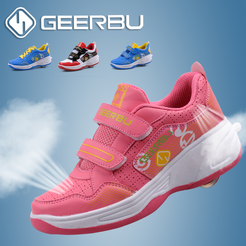 Fashion Kids Sneakers Children Roller Shoes Boys Casual Sport Skates Breathable One Wheel Girls Flying Size 33-41