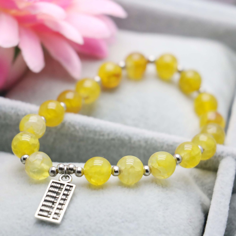 8mm Prevalent Yellow Stripes Agate beads Natural stone Chalcedony Bracelet hand chain for women girls Tibet Silver Abacus(China (Mainland))