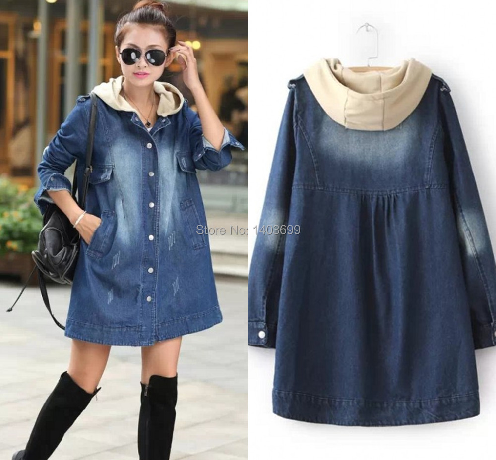 2014 New Casual Jakets Women Free Shipping Full Sleeved Hooded Woman Winter Coat Single Breasted Denim Trench Coat for Women(China (Mainland))