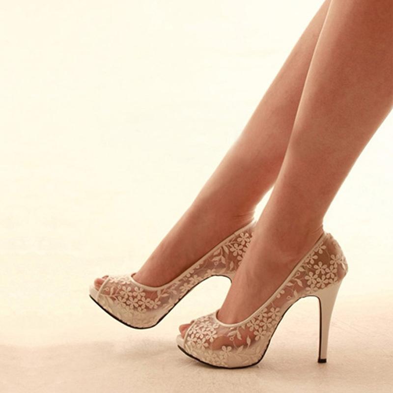 2014 Spring Nightclub Peep Toe Shoes High Heel White Lace Wedding Dress Shoes <br><br>Aliexpress