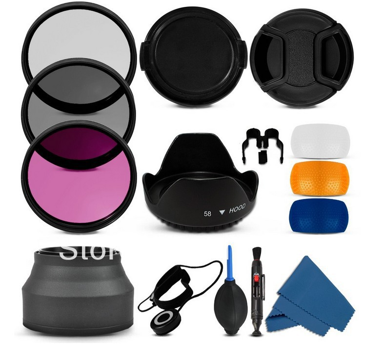 3 pop up diffuser 58MM Filter CPL+UV Set + Lens Hood + Cap + Cleaning Kit for Canon Rebel T4i T3i T3 T2i T1i XT XS XSi 18-55mm(China (Mainland))