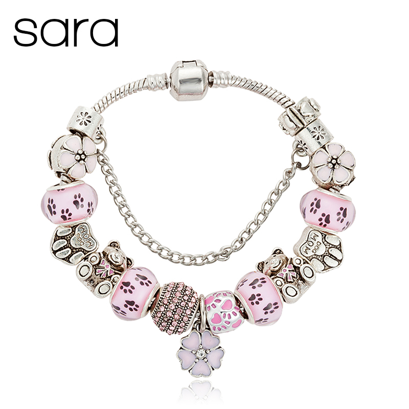 2016 Fashion Jewelry Teddy Bear Charm Bracelets & Bangles For Women Pink Crystal Beads Bracelet Pulsera Gift B16017(China (Mainland))