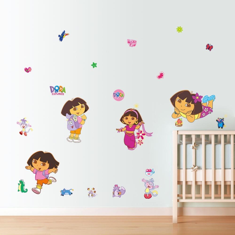 Explorer Dora Wall Sticker for Kids Rooms Decorative Sticker Adesivo De Parede Removable Pvc Wall Decal Art Vinyl Cartoon Poster(China (Mainland))
