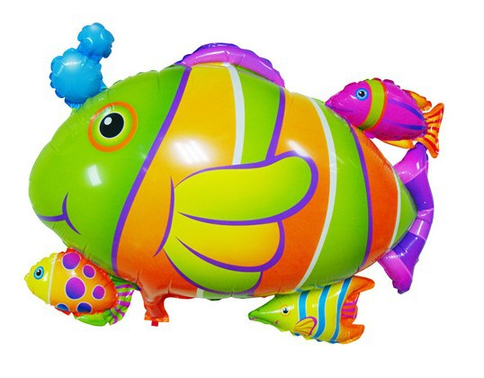 20pcs/lot NEW Arrival Colorful Tropical Fish Foil Balloons Cartoon Helium Balloon Birthday Party Decorations Inflatables Toys(China (Mainland))