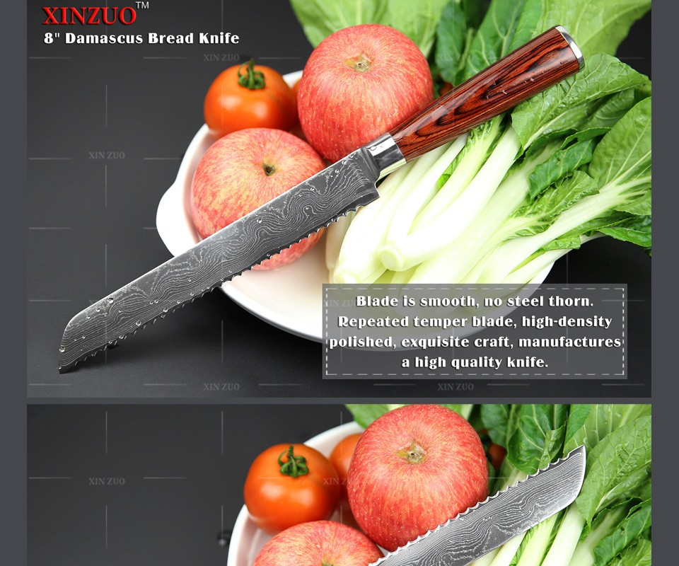 "Buy NEW !!! 8"" Japanese VG10 Damascus steel kitchen knives Bread knife Kitchen supplies with color wood handle free shipping cheap"