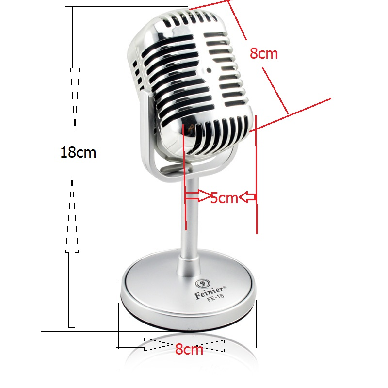 2015 High Quality Satin Surface Plating Vintage Microphone Mini Microfon Wired Microfone For Sing Record on