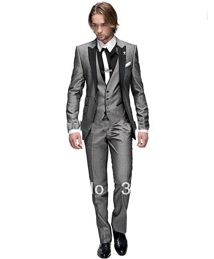 Light Grey Tuxedo Suit Groom Tuxedos Light Grey