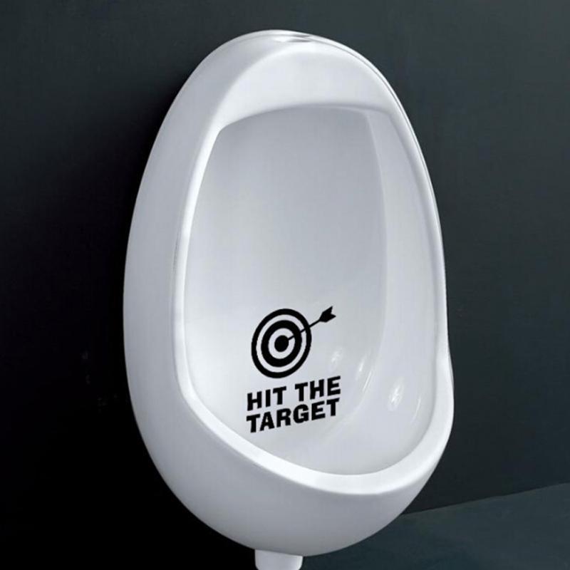 Hit The Target Waterproof Funny Toilet Sticker Bathroom Lettering Vinyl Sticker In Wall Stickers