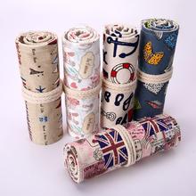 Korean Canvas Pencil Case 36/48/72 Holes Retro Vintage England Flag Love in Paris Anchor Book Travel Pattern Pen Roll Up Bag WZ(China (Mainland))